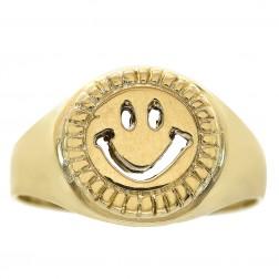 14K Yellow Gold Smile Emoji Ring Size 7.75