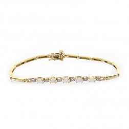 0.05 Carat Diamond and 1.00 Carat Opal 14k Yellow Gold Link Bracelet