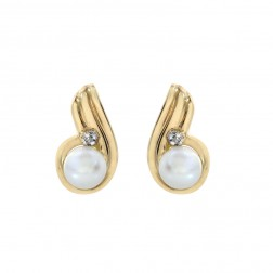 4mm Fresh Water Pearl Stud Earrings 14K Yellow Gold