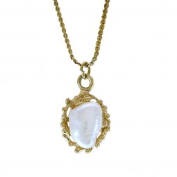 Pearl Vintage Pendant 14K Yellow Gold On Gold Filled Chain