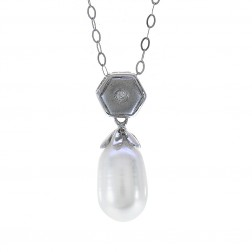 0.02 Carat Round Diamond & Pearl Vintage Pendant on Cable Link Chain 14K White Gold