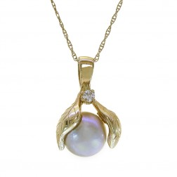 0.03 Ct Diamond & Pearl Pendant 14K Yellow Gold on Cable Link Chain 10K Yellow Gold