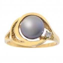 8mm Peacock Color Cultured Pearl & 0.02 Carat Diamond Ring 14K Yellow Gold