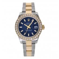 Rolex Lady Datejust 26 Steel & 18K Yellow Gold Watch Custom Diamond Bezel 179163