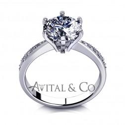 1.09 Carat Round Cut Moissanite Engagement Ring 14k White Gold