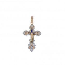 0.45 Carat Diamond & Enamel Russian Orthodox Antique Cross Pendant 14K Rose Gold
