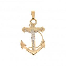14K Yellow Gold Mariners Crucifix Anchor Pendant