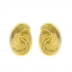 14K Yellow Gold Modern Twisted Omega Back Earrings Italy 6.9gram