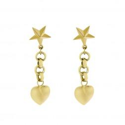 14K Yellow Gold Heart and Star Dangle Earrings 1.9 Grams