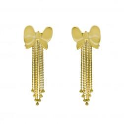14K Yellow Gold Bow Shaped Dangle Earrings