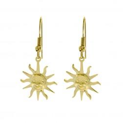 14K Yellow Gold Sun Shaped Dangle Earrings 3.4gram