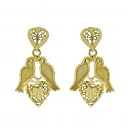 14K Yellow Gold Hearts and Birds Drop Dangle Earrings 2.8 grams