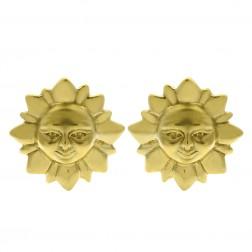 14K Yellow Gold Sun Shaped Button Earrings
