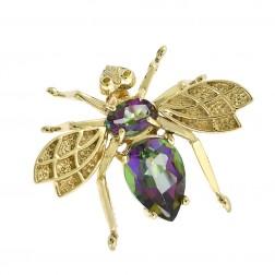 1.50 Carat Rainbow Topaz Gemstone Bee Brooch Pin 10K Yellow Gold
