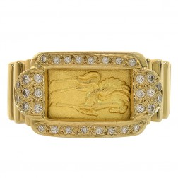 0.48 Carat Round Diamond Fine Gold Ingot Ring 24K & 18K Yellow Gold