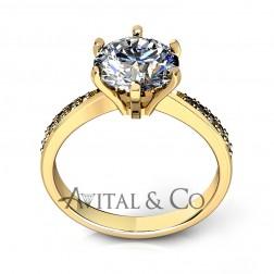 0.93 Carat Moissanite Engagement Ring 14K Yellow Gold