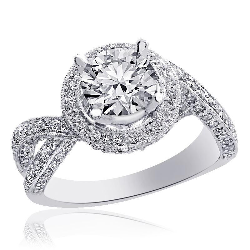 1.25 Carat Round Diamond Cross Shank Halo Engagement