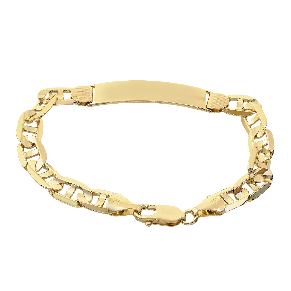 988143d5008df Details about 14K Yellow Gold Gucci Link Chain ID Bar Bracelet Made In Italy